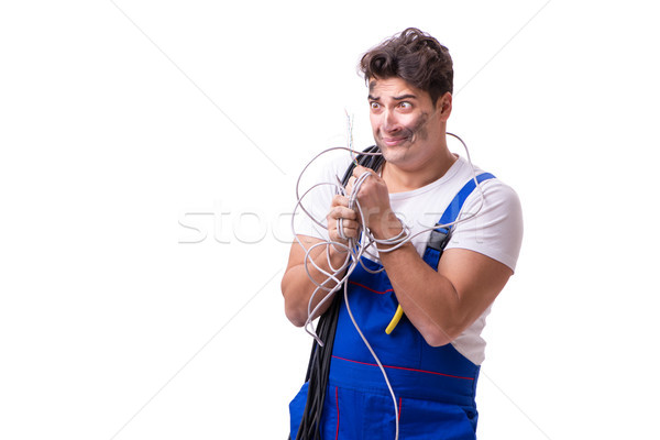 The funny man doing electrical repair Stock photo © Elnur