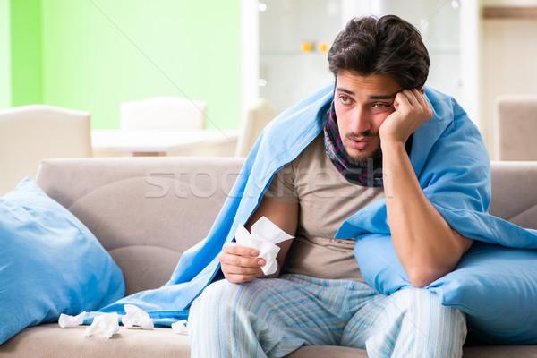 Foto stock: Doente · moço · sofrimento · gripe · casa · sofá