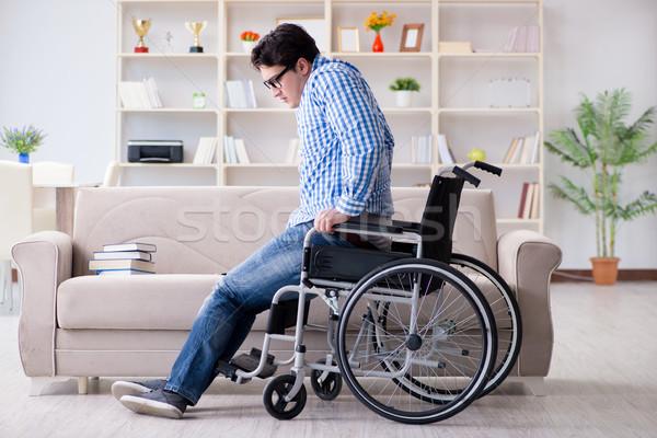 Jonge student rolstoel onbekwaamheid man werk Stockfoto © Elnur
