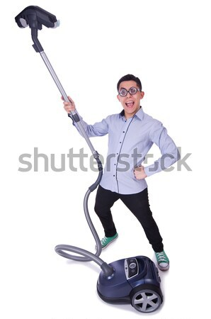 Funny man with vacuum cleaner on white Stock photo © Elnur