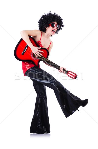 Genç şarkıcı afro kesmek gitar müzik Stok fotoğraf © Elnur