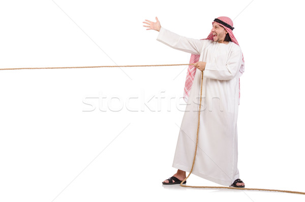 Arab in tug of war concept on white Stock photo © Elnur