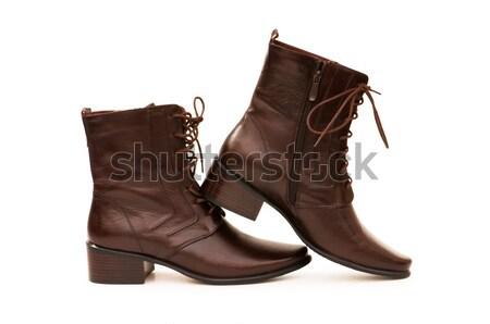 Divat férfi cipők fehér háttér sötét Stock fotó © Elnur