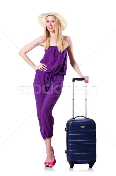 Valigia bianco ragazza felice sfondo Foto d'archivio © Elnur