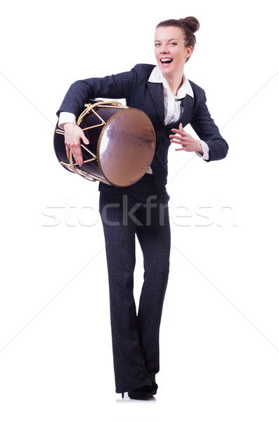 Funny businesswoman with drum isolated on white Stock photo © Elnur