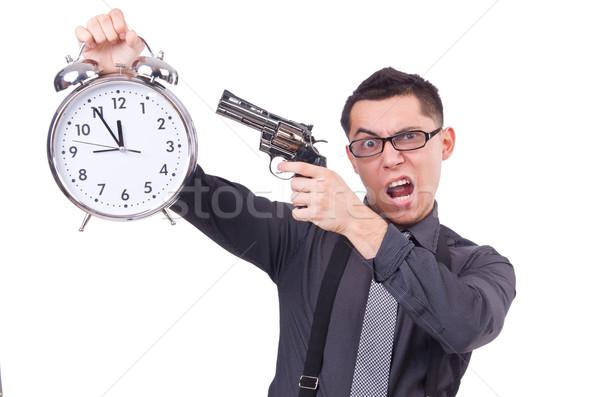 Grappig zakenman klok pistool lopen werknemer Stockfoto © Elnur
