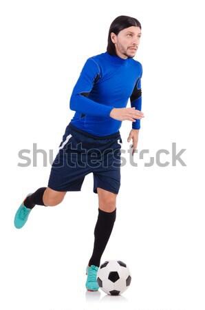 Futbolista aislado blanco fútbol deportes ejecutando Foto stock © Elnur