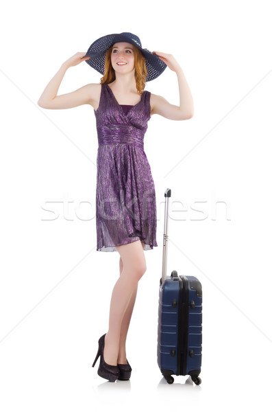 Woman ready for summer holiday isolated on white Stock photo © Elnur