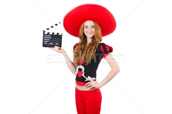 Stok fotoğraf: Komik · Meksika · geniş · kenarlı · şapka · şapka · kadın · film