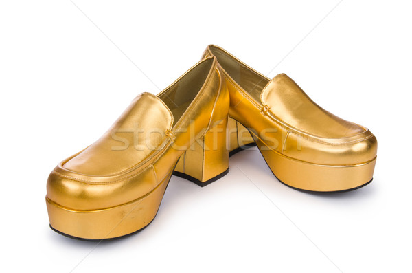 Golden woman shoes isolated on the white Stock photo © Elnur