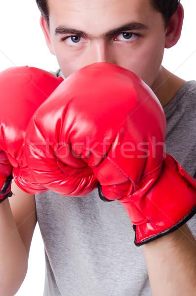 Boxeador torneio isolado branco mão esportes Foto stock © Elnur
