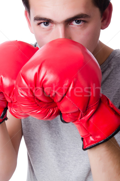 Boxer preparing for the tournament isolated on white Stock photo © Elnur