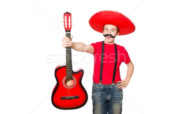 Mexicano guitarrista isolado branco festa guitarra Foto stock © Elnur