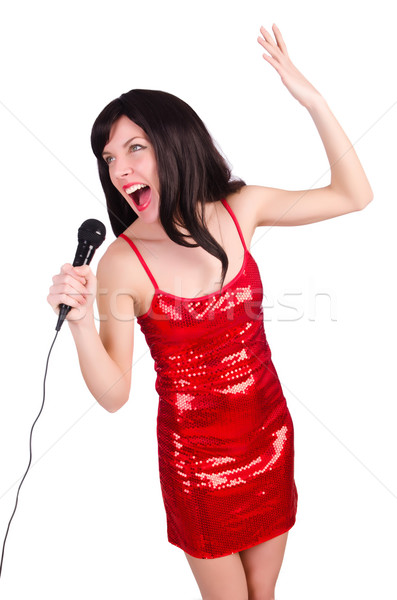 Zdjęcia stock: Kobieta · czerwona · sukienka · śpiewu · strony · włosy · tle