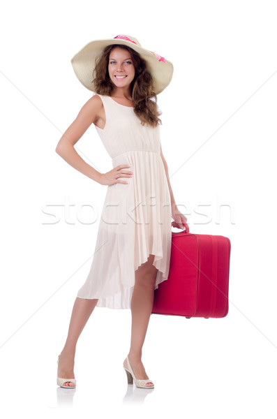 Woman traveller with suitcase isolated on white Stock photo © Elnur