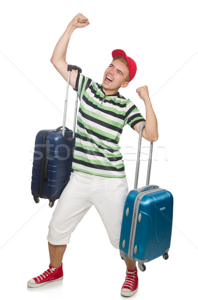 Funny man with suitcase isolated on white Stock photo © Elnur