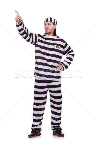 Więzienia więzień odizolowany biały piłka ekranu Zdjęcia stock © Elnur