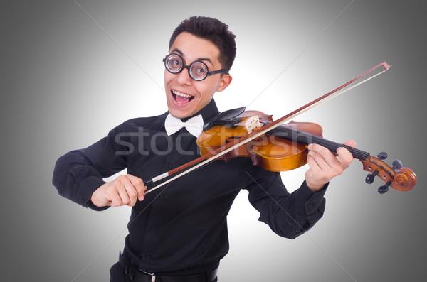 Engraçado violino jogador branco música diversão Foto stock © Elnur
