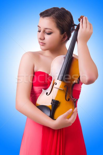 Joven violín blanco mujer concierto sonido Foto stock © Elnur