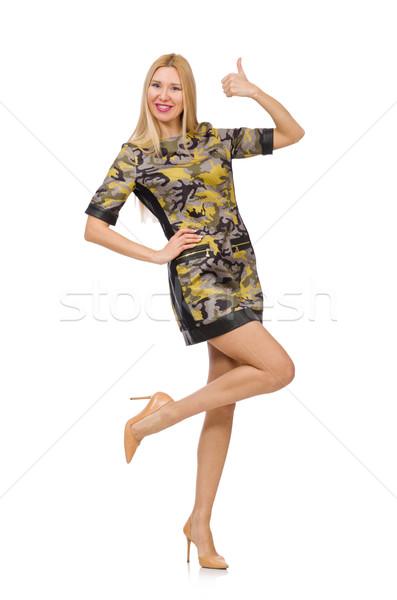женщину военных стиль платье изолированный белый Сток-фото © Elnur