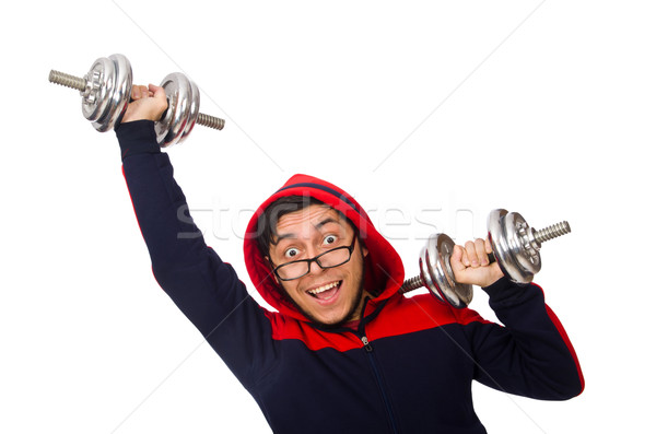 Young man with dumbbells isolated on white Stock photo © Elnur