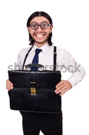 Jonge man aktetas geïsoleerd witte oog gelukkig Stockfoto © Elnur