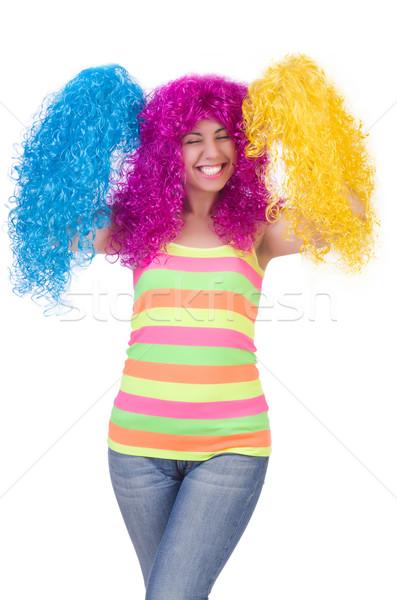 Kadın renkli peruk yalıtılmış beyaz model Stok fotoğraf © Elnur