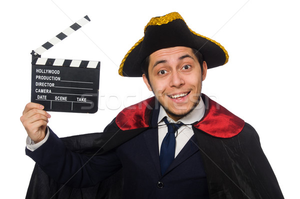 Young pirate holding clapperboard isolated on white Stock photo © Elnur
