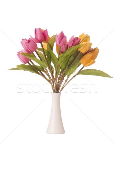 Vase farbenreich Tulpen weiß Blume Blatt Stock foto © Elnur