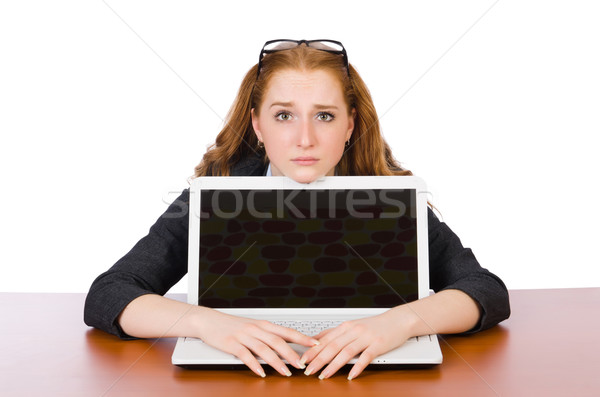 Businesswoman with laptop isolated on white Stock fotó © Elnur