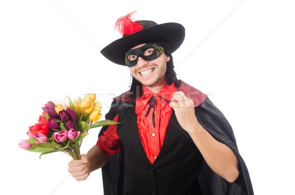 Stockfoto: Jonge · man · carnaval · jas · geïsoleerd · witte · bloemen