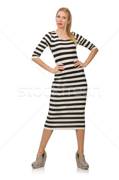Fiatal nő hosszú csíkos ruha izolált fehér Stock fotó © Elnur