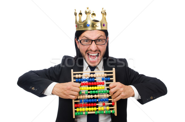 Funny man with calculator and abacus Stock photo © Elnur