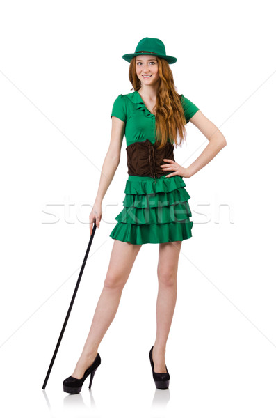 Cute girl with walking sitck isolated on white Stock photo © Elnur