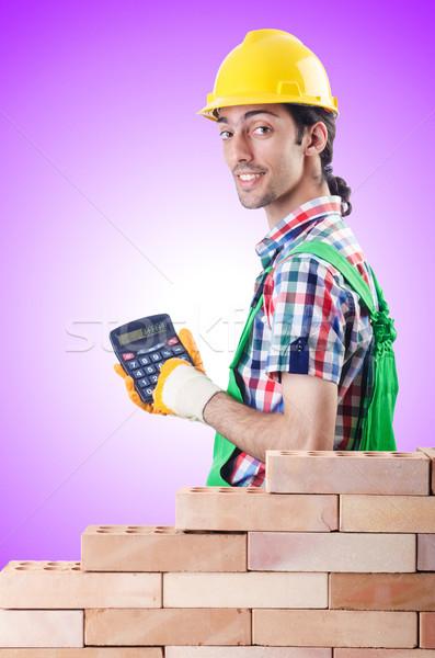 Caro construção construtor calculadora homem trabalhar Foto stock © Elnur