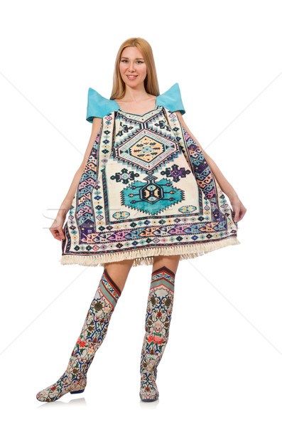 Woman in blue dress with oriental prints isolated on white Stock photo © Elnur