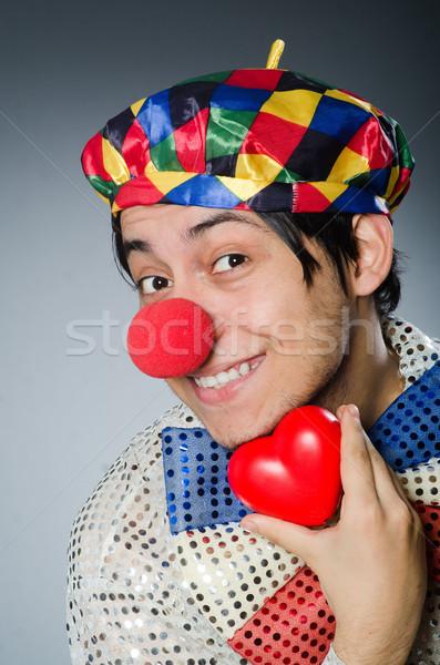 面白い ピエロ 赤 鼻 笑顔 パーティ ストックフォト © Elnur