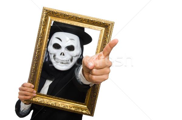 Férfi ijesztő maszk izolált fehér férfi fehér Stock fotó © Elnur