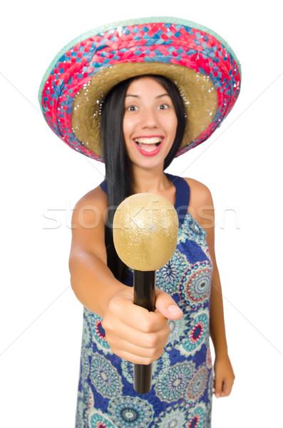 Genç geniş kenarlı şapka beyaz mutlu Stok fotoğraf © Elnur