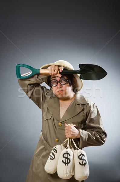 человека Safari Hat смешные деньги Сток-фото © Elnur