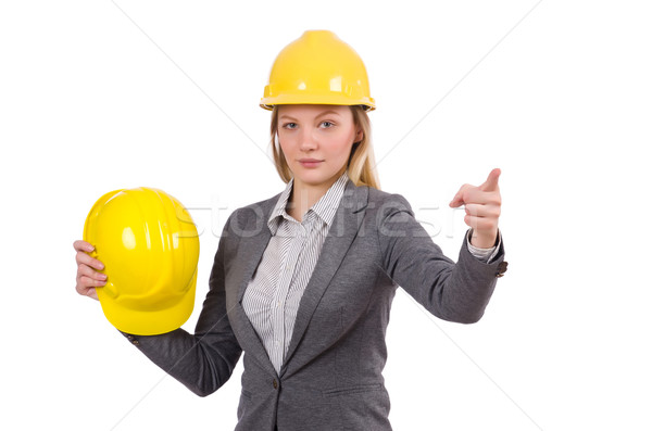 Businesswoman in gray suit and safety helmet isolated on white Stock photo © Elnur