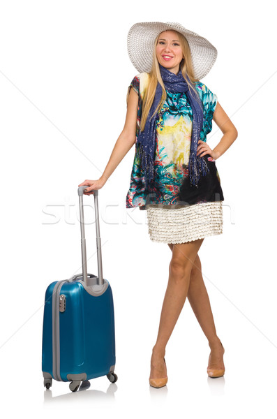 Woman preparing for summer vacation isolated on white Stock photo © Elnur