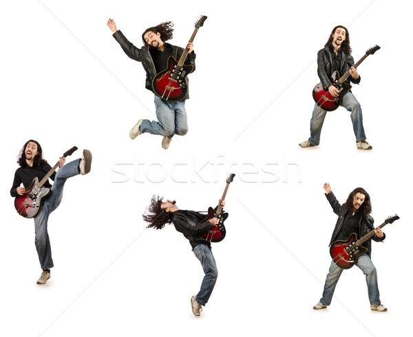 Engraçado guitarrista isolado branco música festa Foto stock © Elnur