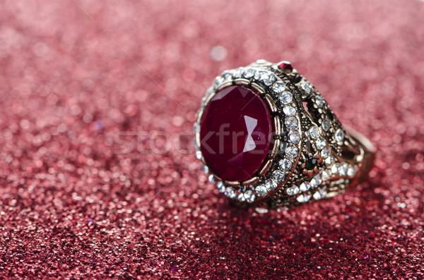 ювелирных кольца цепь Diamond белый Сток-фото © Elnur