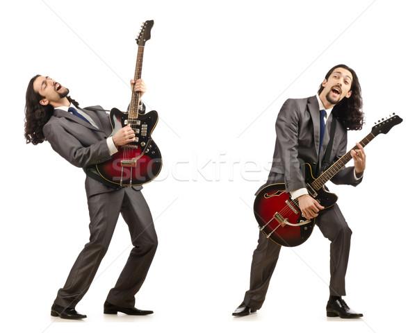 Grappig gitarist geïsoleerd witte muziek partij Stockfoto © Elnur