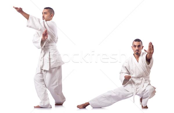 Kolaj karate oyuncu kimono yalıtılmış beyaz Stok fotoğraf © Elnur