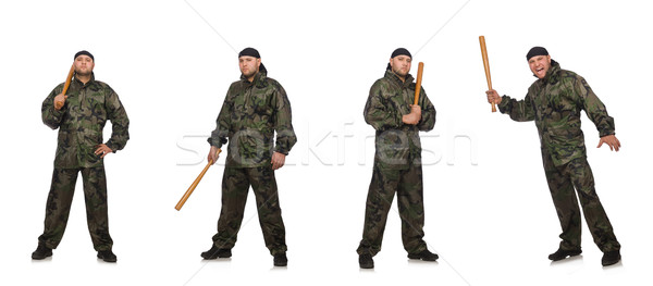 Soldier with baseball bat on white Stock photo © Elnur