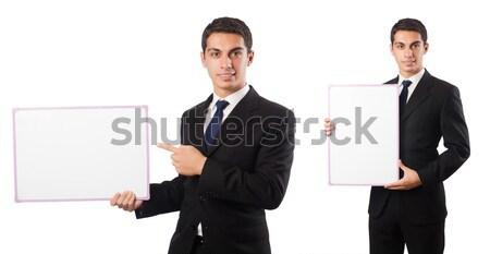 Stockfoto: Elegante · jonge · man · geïsoleerd · witte · zakenman · pak