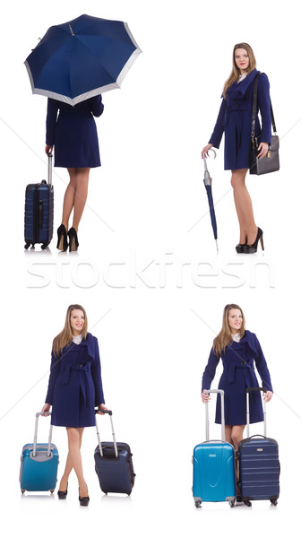 The woman with suitcase and umbrella isolated on white Stock photo © Elnur