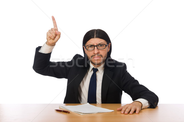Businessman at workplace isolated on white Stock photo © Elnur